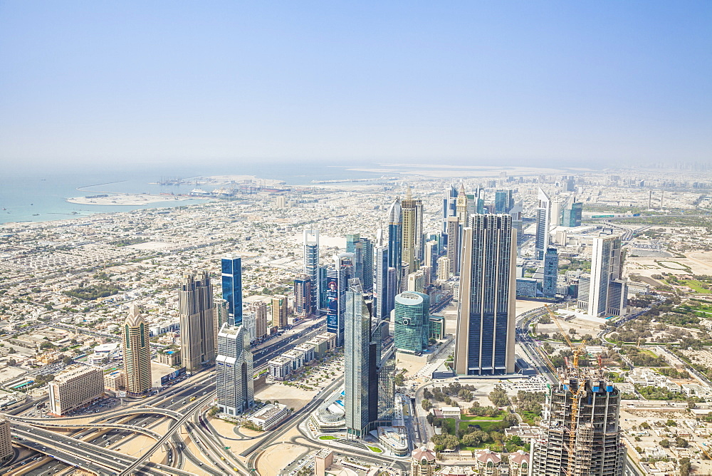 View of Sheikh Zayed Road and Dubai skyline, Dubai City, United Arab Emirates, Middle East