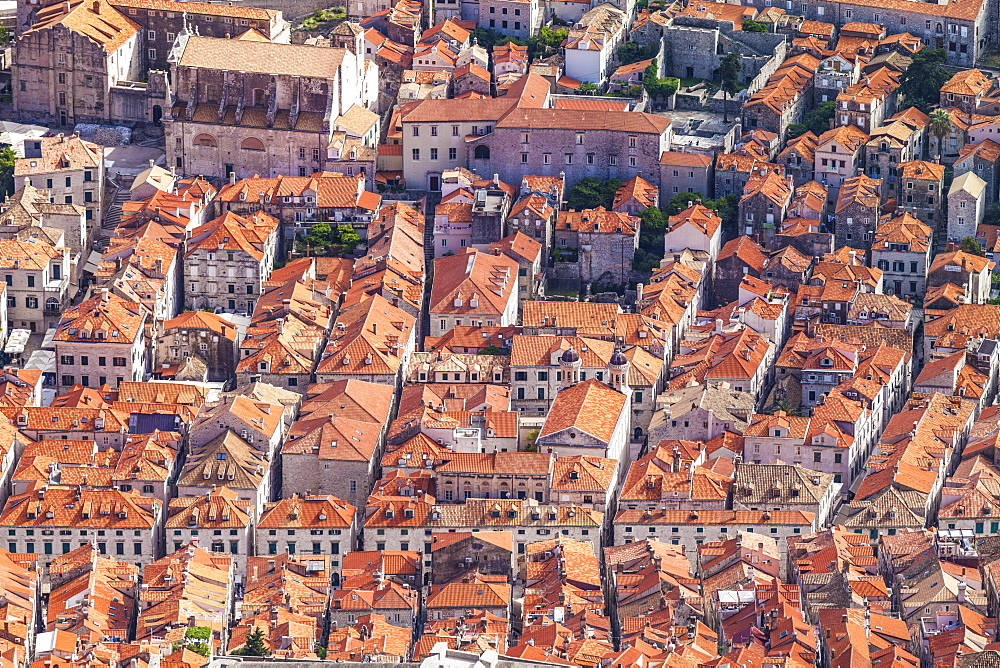 Aerial rooftop view of Dubrovnik old town, Dalmatian Coast, Dubrovnik, Croatia, EU, Europe