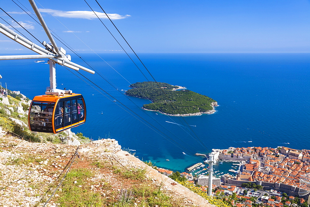 Cable car, Lokrum Island and Dubrovnik Old Town view, Dalmatian Coast, Dubrovnik, Croatia, EU, Europe