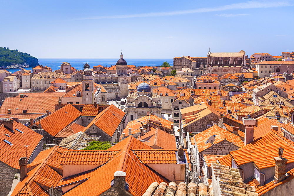 Terracotta tile rooftop view of Dubrovnik Old Town, Dalmatian Coast, Dubrovnik, Croatia, EU, Europe