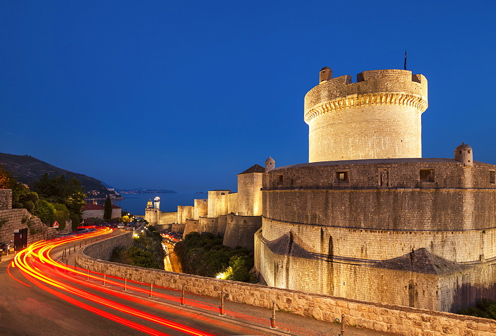 Minceta tower and city walls with traffic light trails, Dubrovnik Old Town, Dubrovnik, Dalmatian Coast, Croatia, Europe