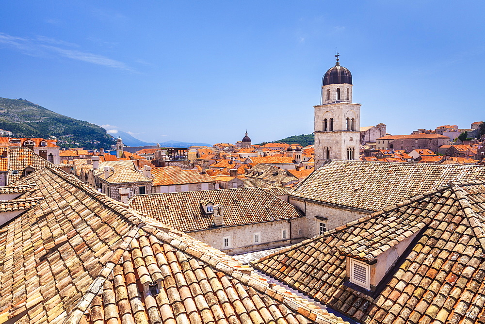 Rooftop view of Franciscan church, bell tower and monastery, Dubrovnik Old Town, Dalmatian Coast, Dubrovnik, Croatia, EU, Europe
