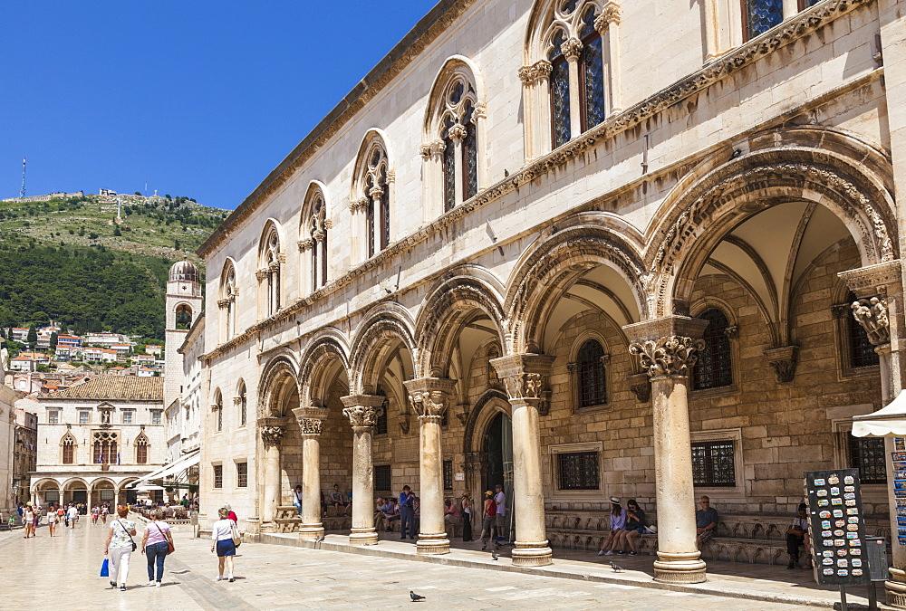 Rectors Palace and Cultural History Museum Street View, Dubrovnik Old Town, Dalmatian Coast, Dubrovnik, Croatia, EU, Europe