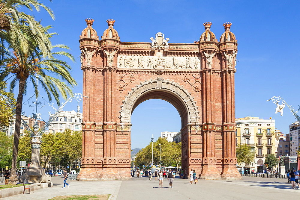 The red brick Arc de Triomf, arc de triomphe , Arco de Triunfo, Barcelona, Catalonia, Catalunya, Spain, EU, Europe