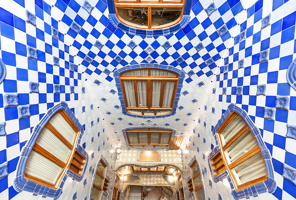 Inside atrium of Casa Batlló, a modernist building by Antoni Gaudí, Passeig de Gràcia, Barcelona, Catalonia, Spain, EU, Europe