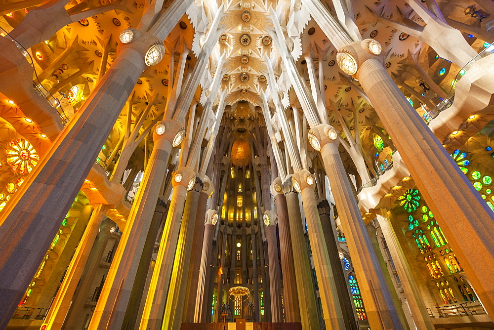 La Sagrada Familia church, basilica interior with stained glass windows by Antoni Gaudi, UNESCO World Heritage Site, Barcelona, Catalonia (Catalunya), Spain, Europe