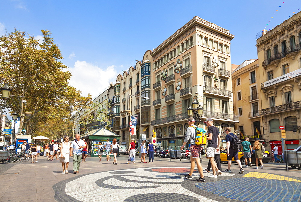 The Barcelona Miro mosaic on La Rambla (Las Ramblas) boulevard, the promenade through Barcelona, Catalonia (Catalunya), Spain, Europe