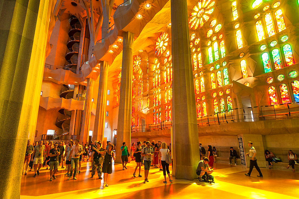 La Sagrada Familia church, basilica interior with stained glass windows by Antoni Gaudi, Barcelona, Catalonia, Spain, EU, Europe
