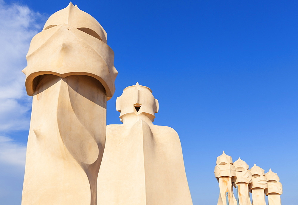 chimney sculptures on the roof of Casa Mila or La Pedrera by Antoni Gaudi, Barcelona, Catalonia, Catalunya, Spain, EU, Europe