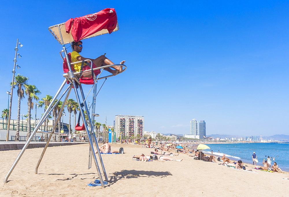 Lifeguard stationed at Barcelona beach of Barceloneta, Barcelona, Catalonia, Catalunya, Spain, EU, Europe