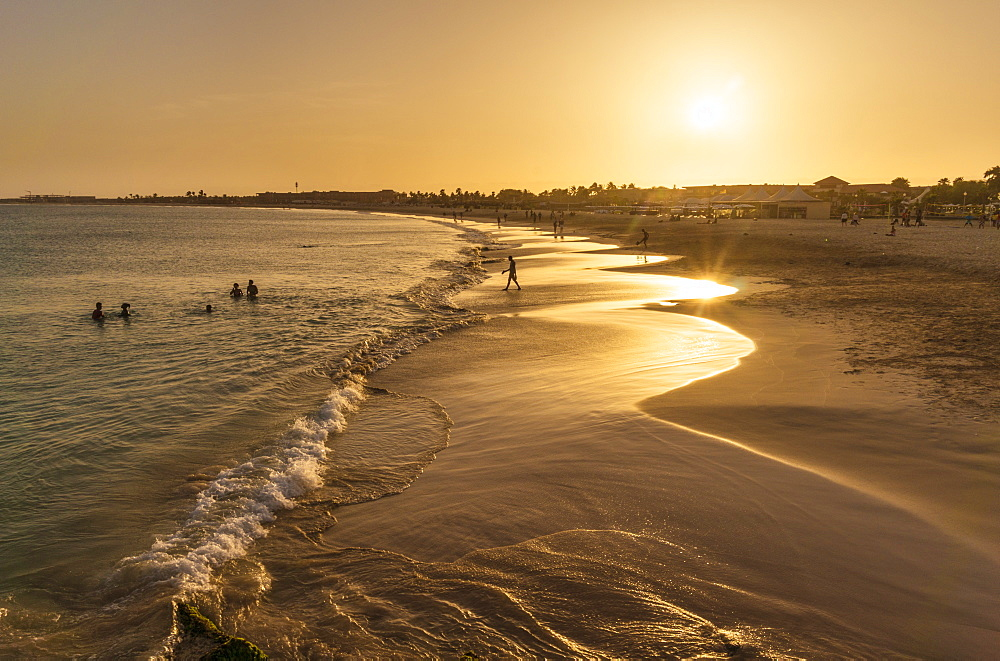 Sunset at the beach in Santa Maria, Praia de Santa Maria, Baia de Santa Maria, Sal Island, Cape Verde, Atlantic, Africa