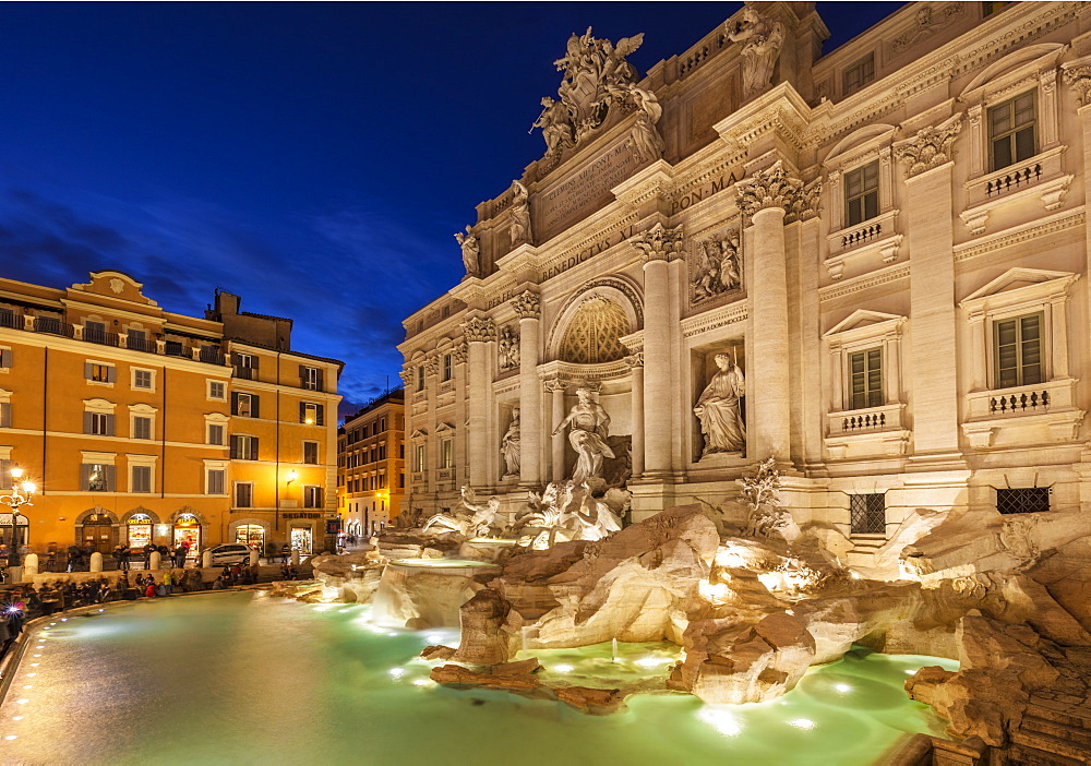 The Trevi Fountain backed by the Palazzo Poli at night, Rome, Lazio, Italy, Europe