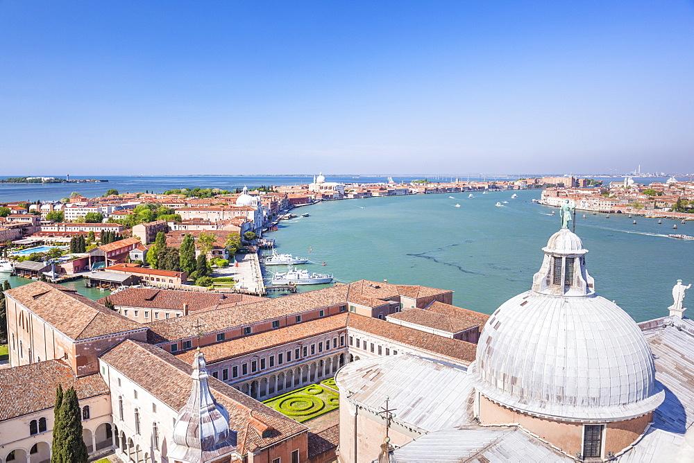 Church of San Giorgio Maggiore, roof and dome, with view of the island of Giudecca, Venice, UNESCO World Heritage Site, Veneto, Italy, Europe - 698-3243