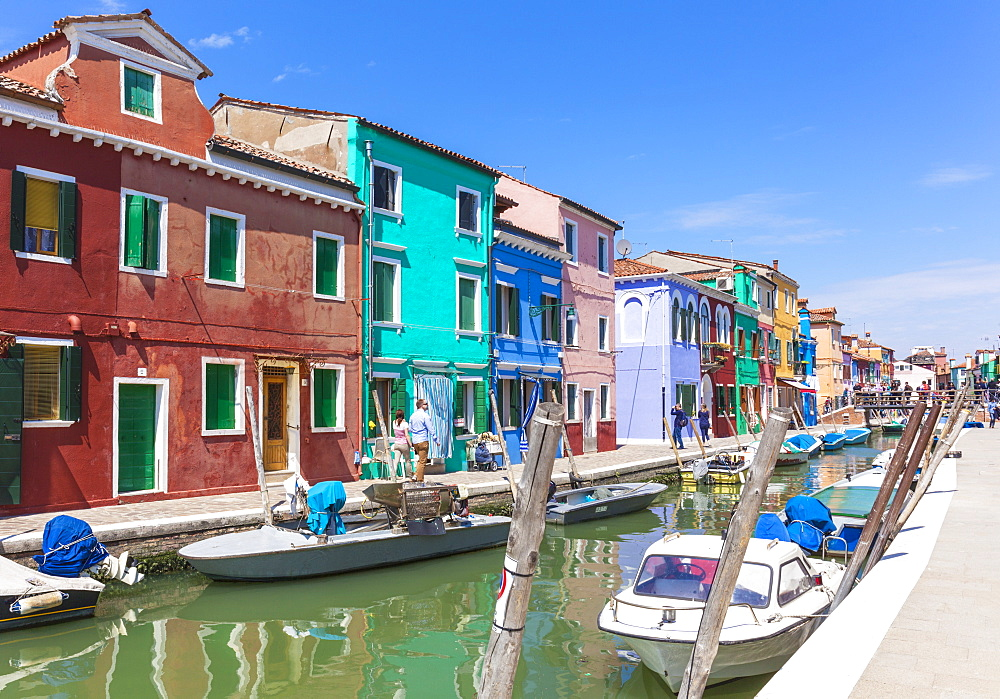 Brightly coloured fishermens cottages on the island of Burano in the Venice lagoon (Venetian lagoon), Venice, UNESCO World Heritage Site, Veneto, Italy, Europe - 698-3249