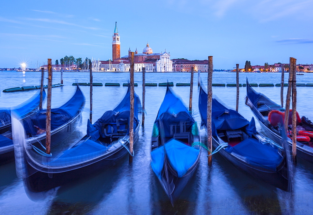 Gondolas moored at night in the Bacino di San Marco (St. Mark's Basin), waterfront, Venice, UNESCO World Heritage Site, Veneto, Italy, Europe