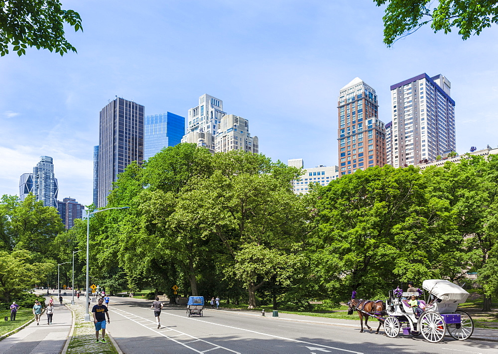 Tourists on a carriage ride, West Drive, Central Park, Manhattan skyscrapers, New York skyline, New York, United States of America, North America - 698-3265