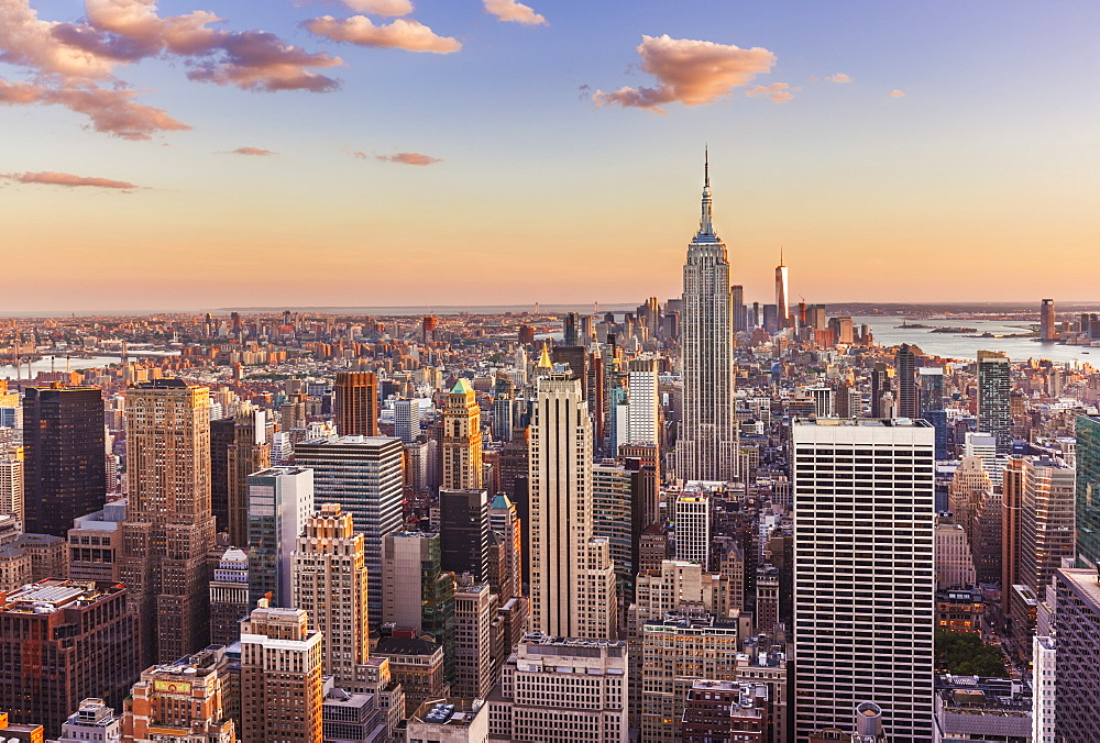 Manhattan skyline, New York Skyline, Empire State Building, sunset, New York City, United States of America, North America, USA