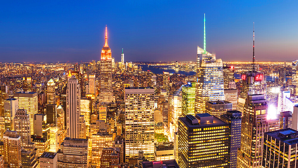 Manhattan skyline, New York Skyline, Empire State Building, panorama, at night, New York City, United States, North America, USA