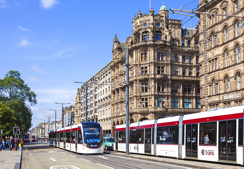 Edinburgh city trams on Princes Street, city centre, Edinburgh, Midlothian, Scotland, United Kingdom, Europe - 698-3289