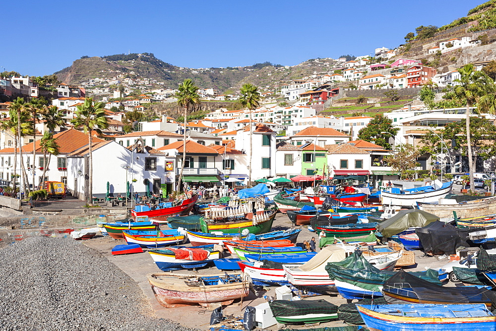 Traditional colourful fishing boats on the beach in Camara de Lobos fishing village, Madeira, Portugal, Atlantic, Europe - 698-3305