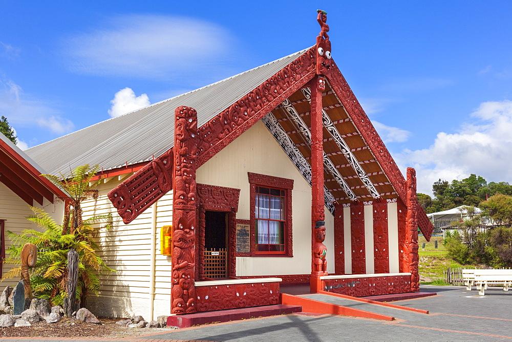 Wahaio Traditional Maori meeting house, Whare Tipuna, Whakarewarewa thermal village, Rotorua, North Island, New Zealand, Pacific