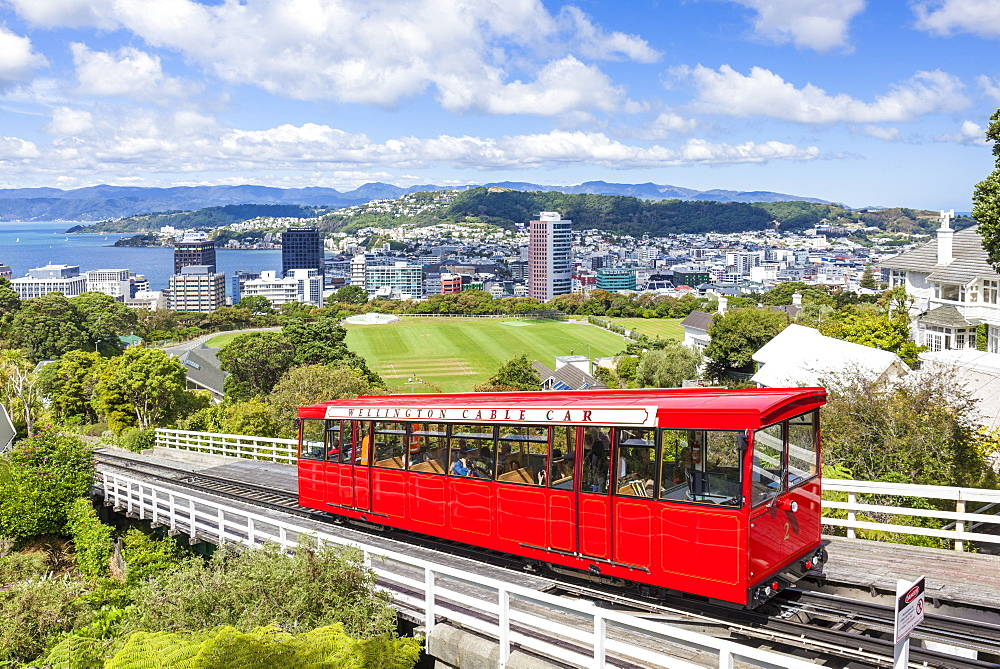 Wellington cable car and Wellington Skyline, Wellington, North Island, New Zealand, NZ