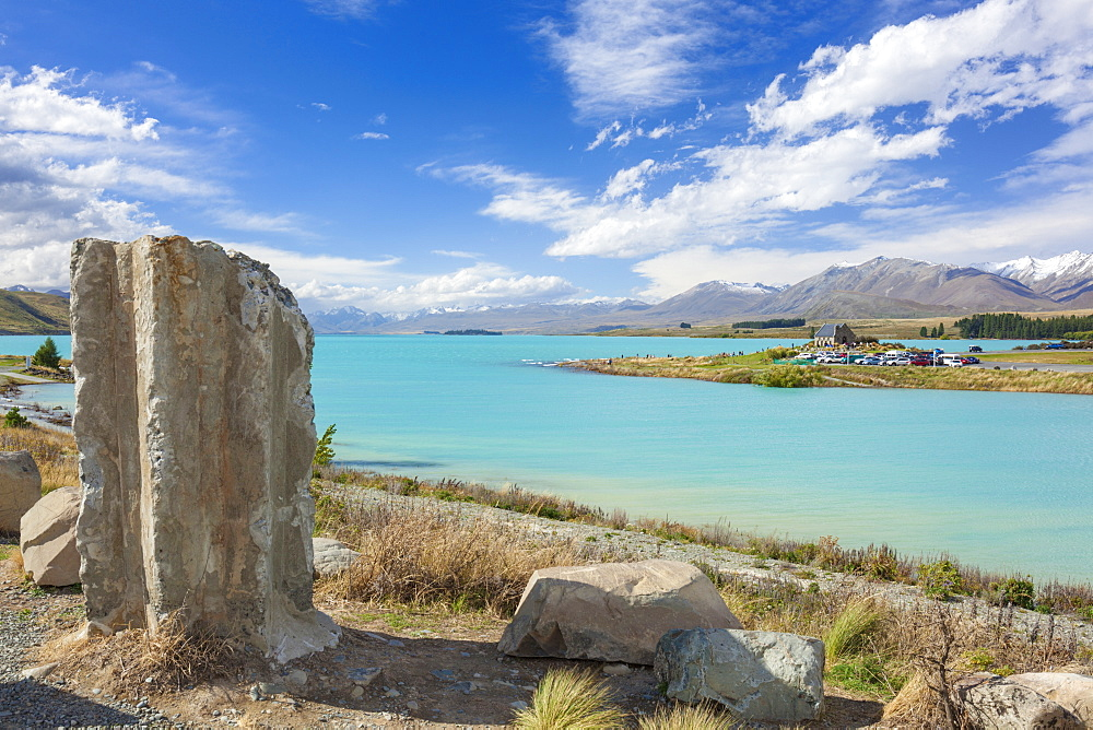 Ruined column by the side of glacial Lake Tekapo, Mackenzie district, South Island, New Zealand, Pacific - 698-3333