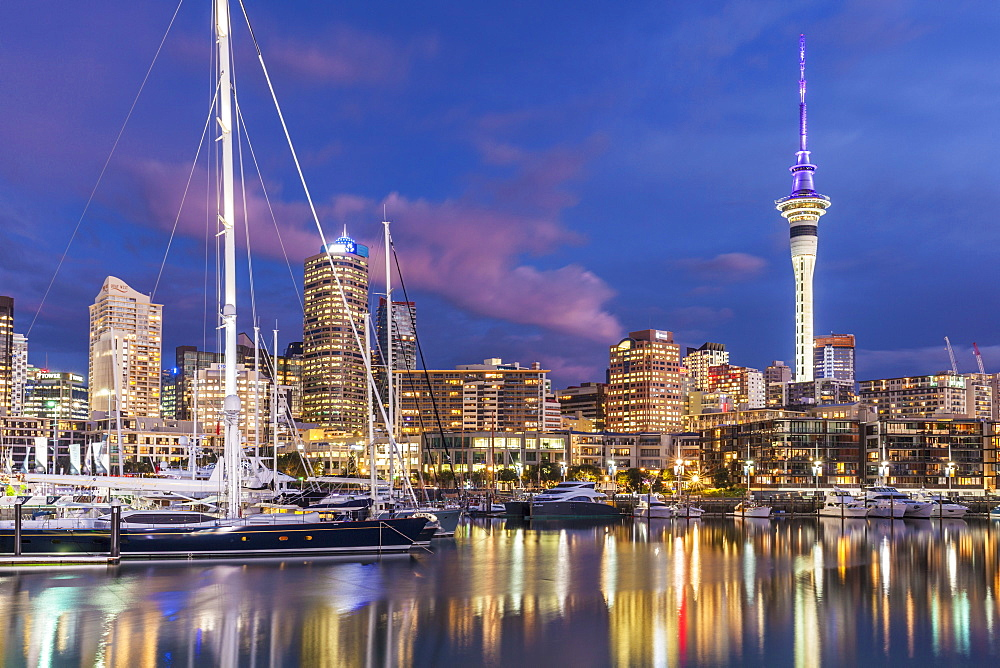 Viaduct Harbour waterfront area and Auckland Marina at night, Auckland skyline, Sky Tower, Auckland, North Island, New Zealand, Pacific - 698-3354
