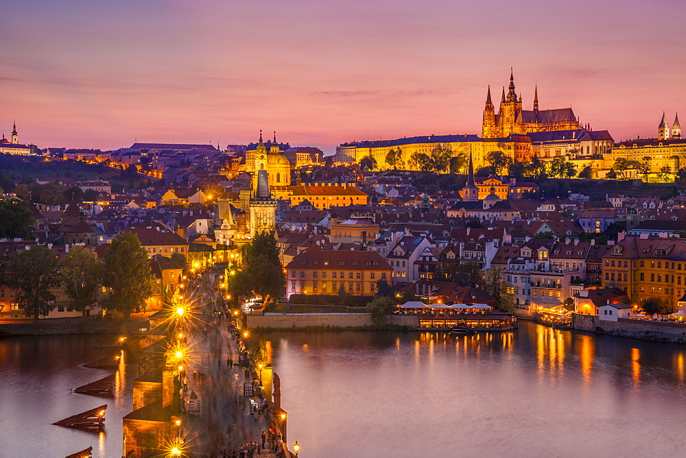 Prague skyline at night with Charles Bridge, River Vltava, Prague Castle and St. Vitus Cathedral, UNESCO World Heritage Site, Prague, Czech Republic, Europe