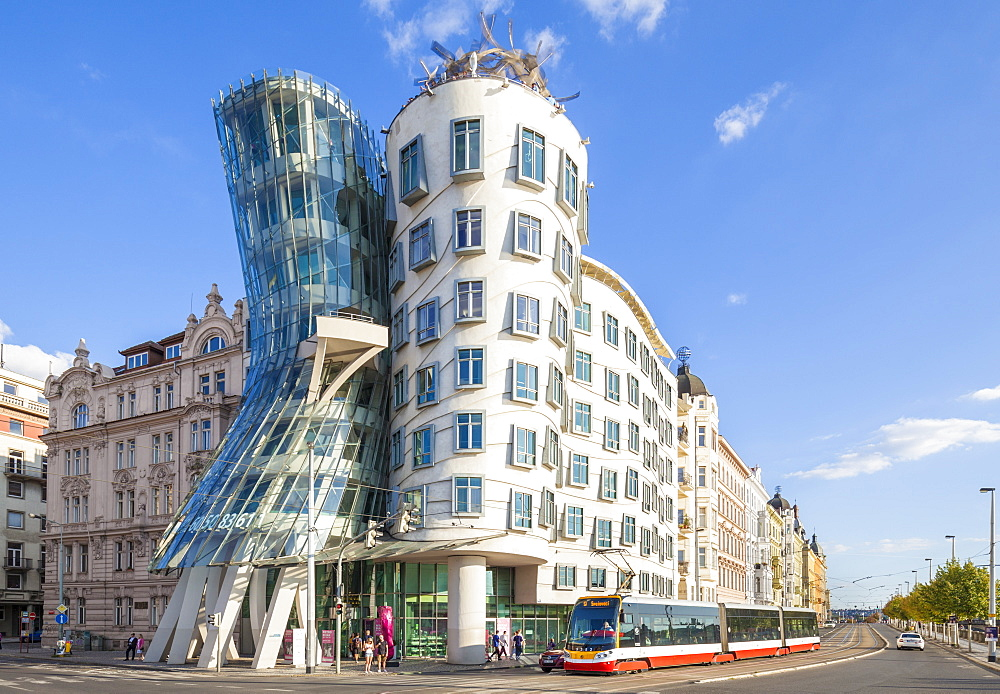 Prague Dancing House (Ginger and Fred) (Tancici dum) by Frank Gehry and Vlado Milunic, Prague, Czech Republic, Europe