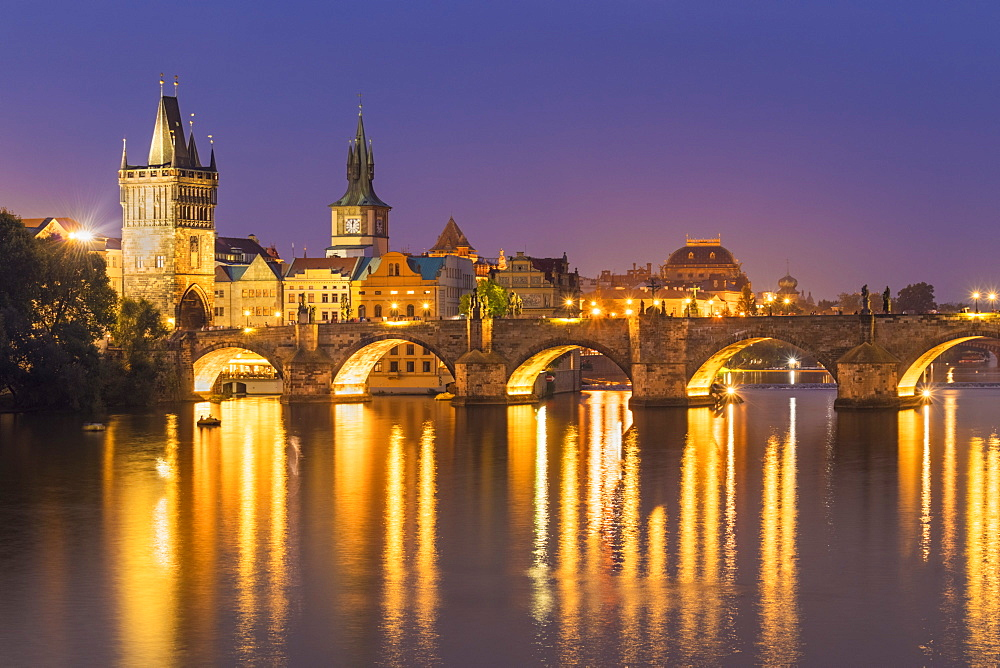 Prague Charles bridge, Old town bridge tower and river Vltava at night, Prague, Czech republic, EU, Europe