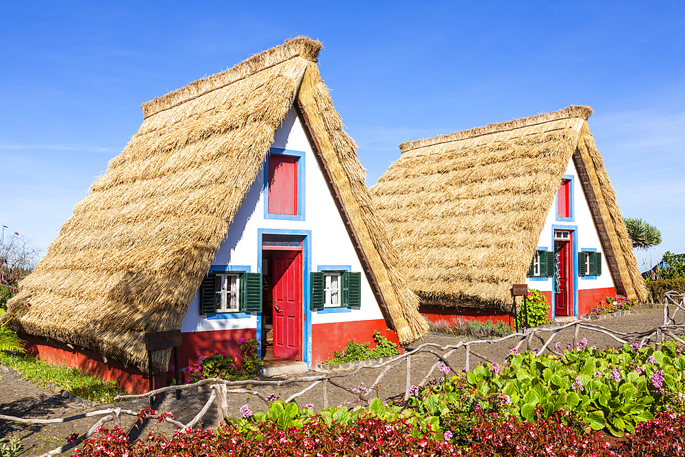 Traditional triangular thatched A-framed Palheiro Houses Santana Madeira Portugal