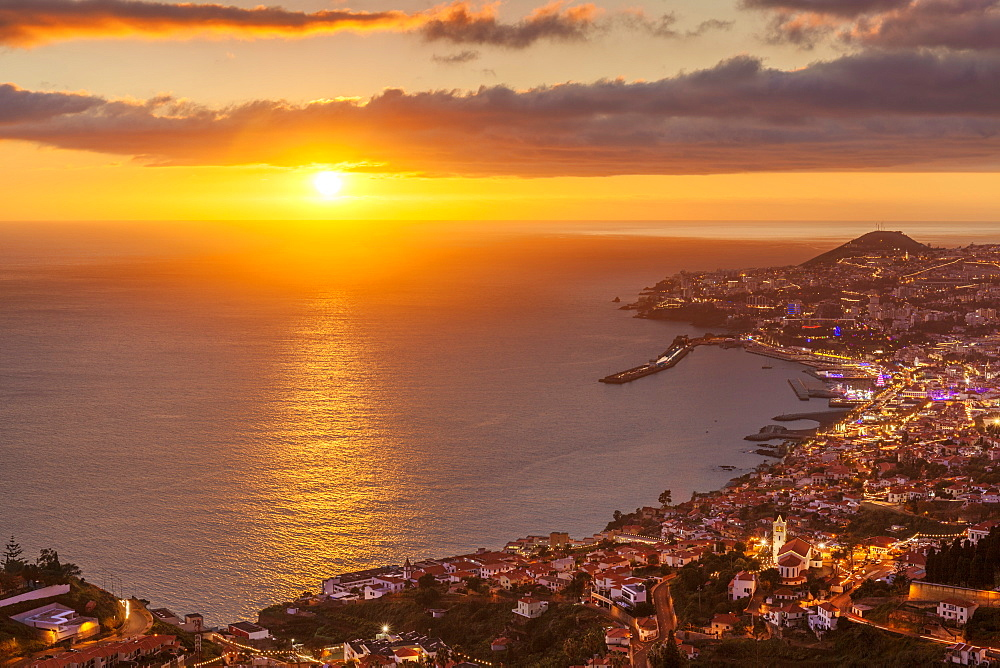 Funchal skyline at sunset with city night lights, Funchal, Madeira, Portugal, Atlantic, Europe