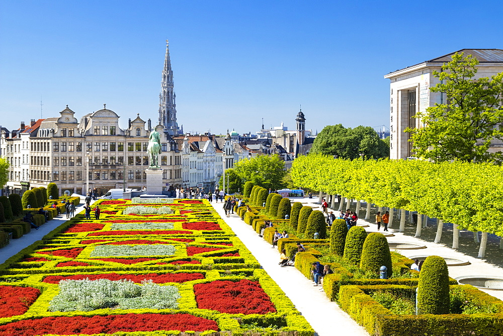 Cityscape at Mont des Arts Garden, Brussels, Belgium, Europe