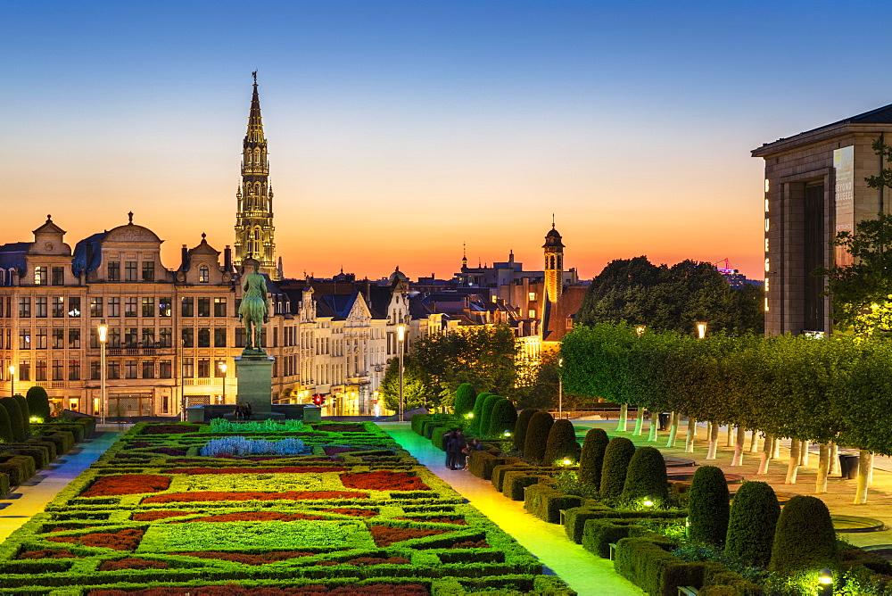 Cityscape at sunset, Mont des Arts Floodlit Garden, Brussels, Belgium, Europe