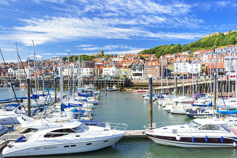 Scarborough harbour and marina in South Bay, Scarborough, North Yorkshire, England, United Kingdom, Europe