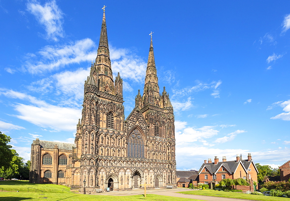 Lichfield cathedral west front with carvings of St Chad Saxon and Norman kings Lichfield Staffordshire England UK GB Europe