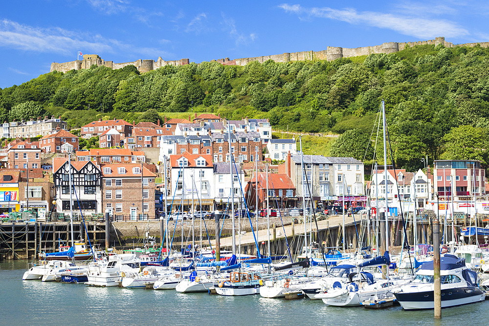 Scarborough harbour, marina and castle in south bay, Scarborough, North Yorkshire, England, United Kingdom, Europe