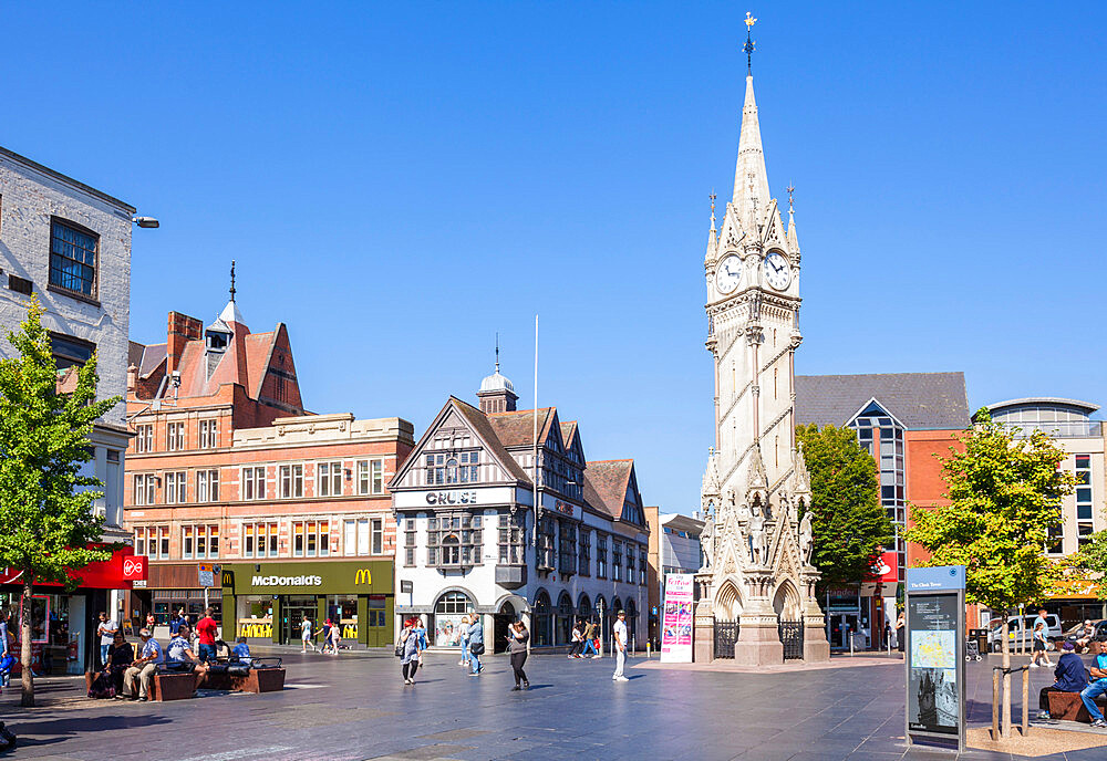 Victorian Haymarket Memorial Clock Tower Leicester city centre Leicestershire East Midlands England UK GB EU Europe