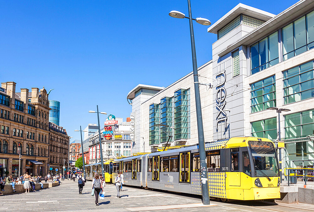 Manchester tram stop by Next store Exchange Square Manchester Arndale centre Manchester City centre Manchester UK GB Europe