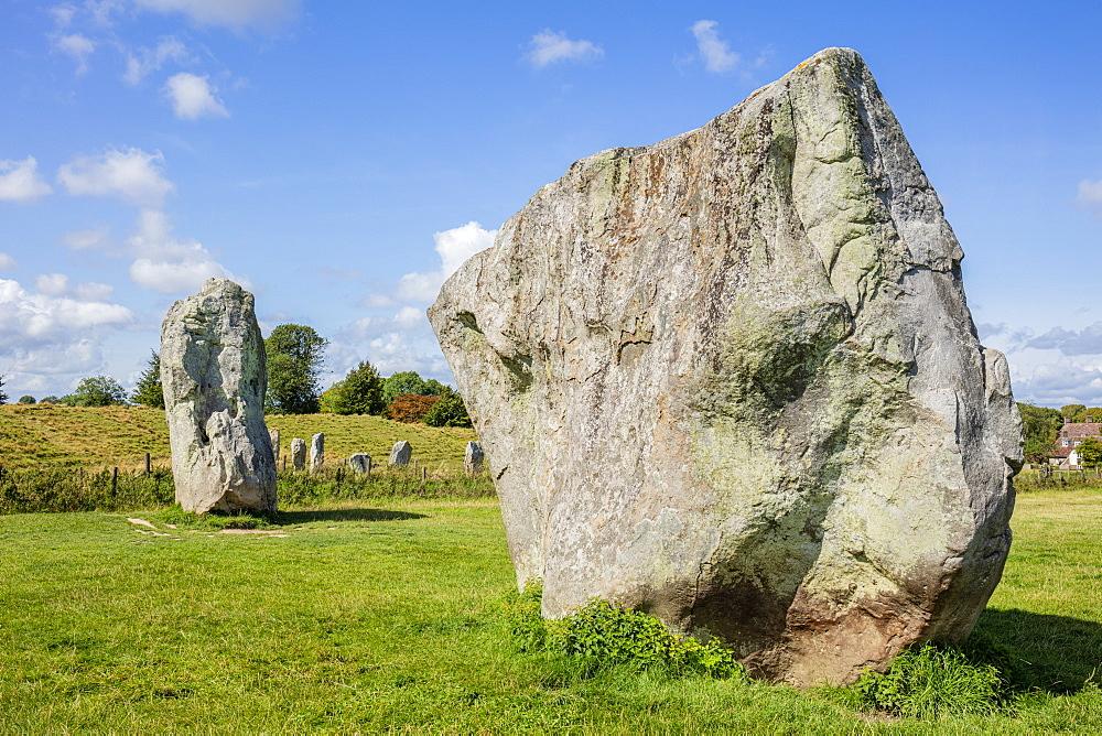 Standing stones at Avebury stone circle, Neolithic stone circle, UNESCO World Heritage Site, Avebury, Wiltshire, England, United Kingdom, Europe - 698-3438