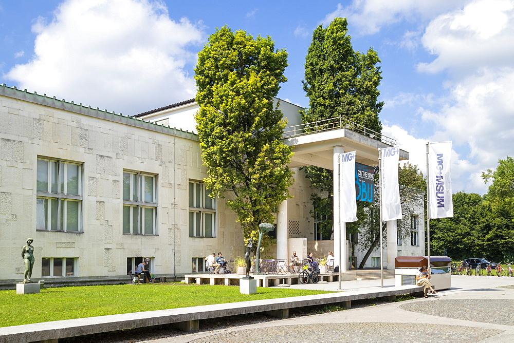 The entrance to the Ljubljana Museum of Modern Art, Cankarjeva Cesta, Ljubljana, Slovenia, Europe - 698-3470