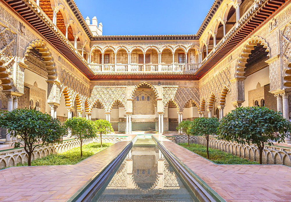 Patio de las Doncellas (The Courtyard of the Maidens), Real Alcazar (Royal Palace), UNESCO World Heritage Site, Seville, Andalusia, Spain, Europe - 698-3481
