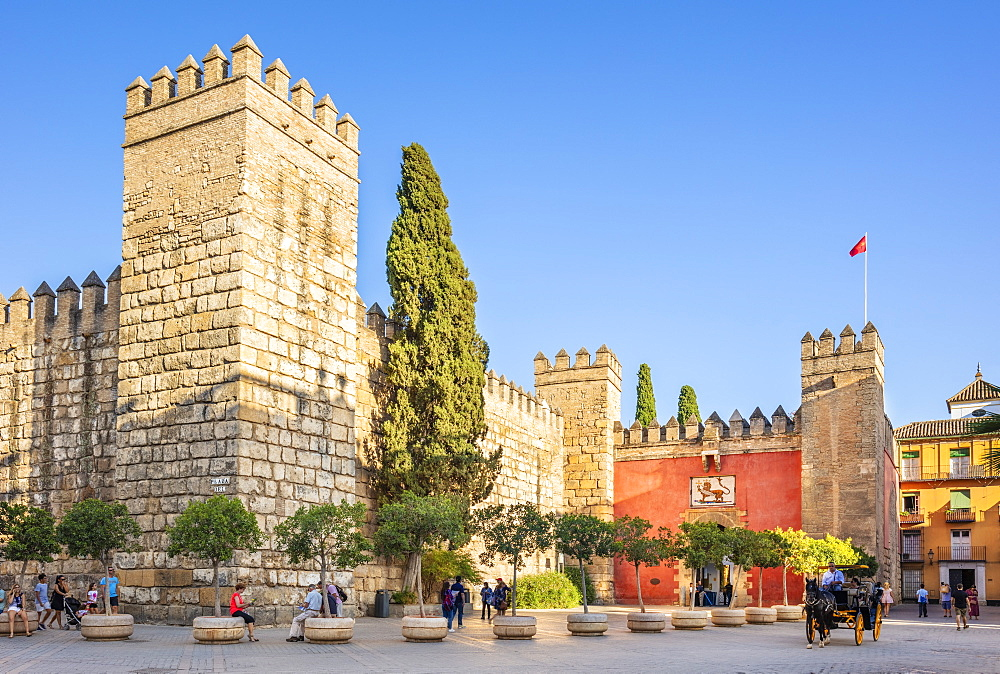 Entrance to the Alcazar Palace (Real Alcazar), UNESCO World Heritage Site, Seville, Andalusia, Spain, Europe - 698-3496