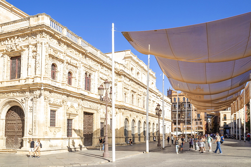 Seville Town Hall with sun shades canopy, Plaza de San Francisco, Seville, Spain, Andalusia, Spain, Europe