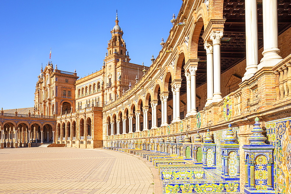 Ceramic tiles in the alcoves and arches of the Plaza de Espana, Maria Luisa Park, Seville, Andalusia, Spain, Europe