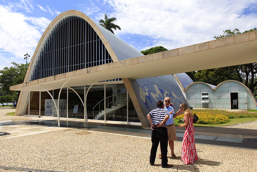 Sao Francisco de Assis church built in 1943 by architect Oscar Niemeyer, with mural by Candido Portinari, beside Pampulha Lake, Belo Horizonte, Minas Gerais, Brazil, South America - 700-13895