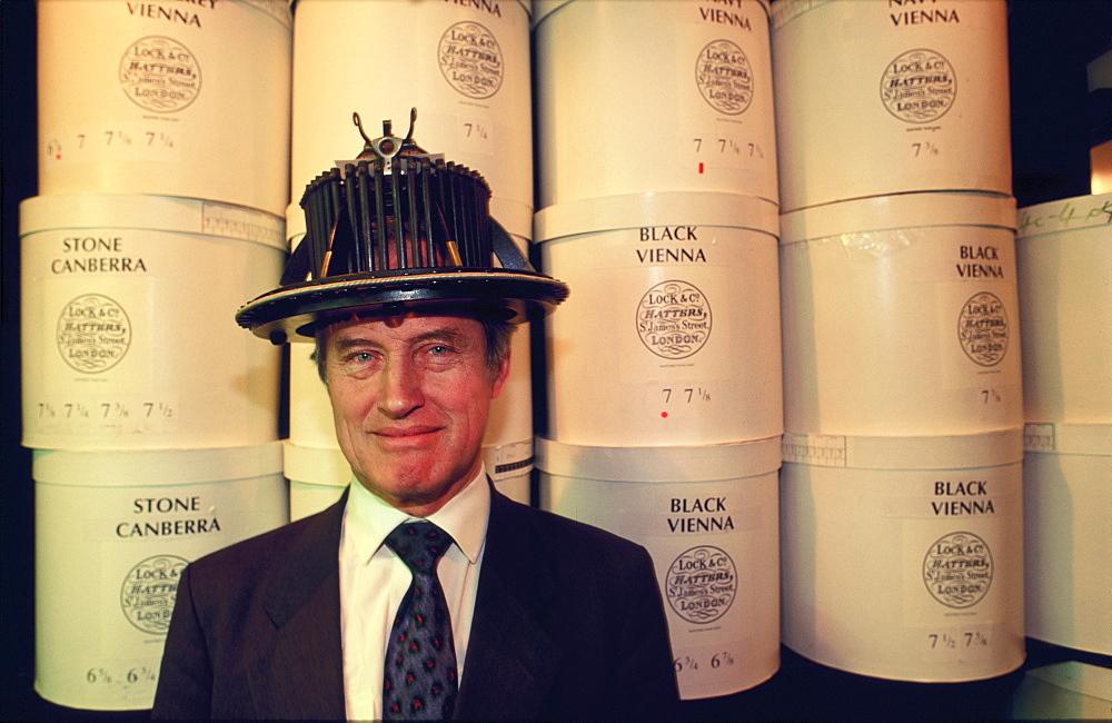 Hatter wearing head measuring device, London