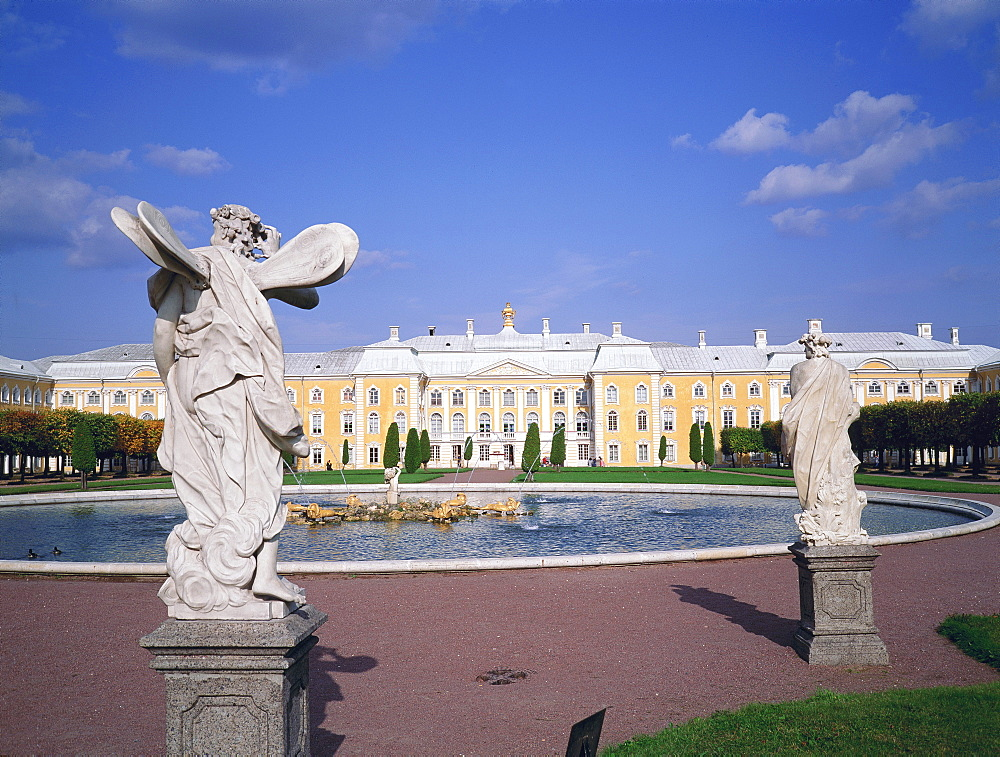 Statues and fountain in the grounds of Pedrovorets Castle, St Petersburg