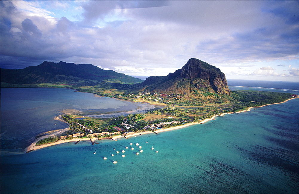 Aerial view over the island of Morne Brabant, Mauritius, Africa